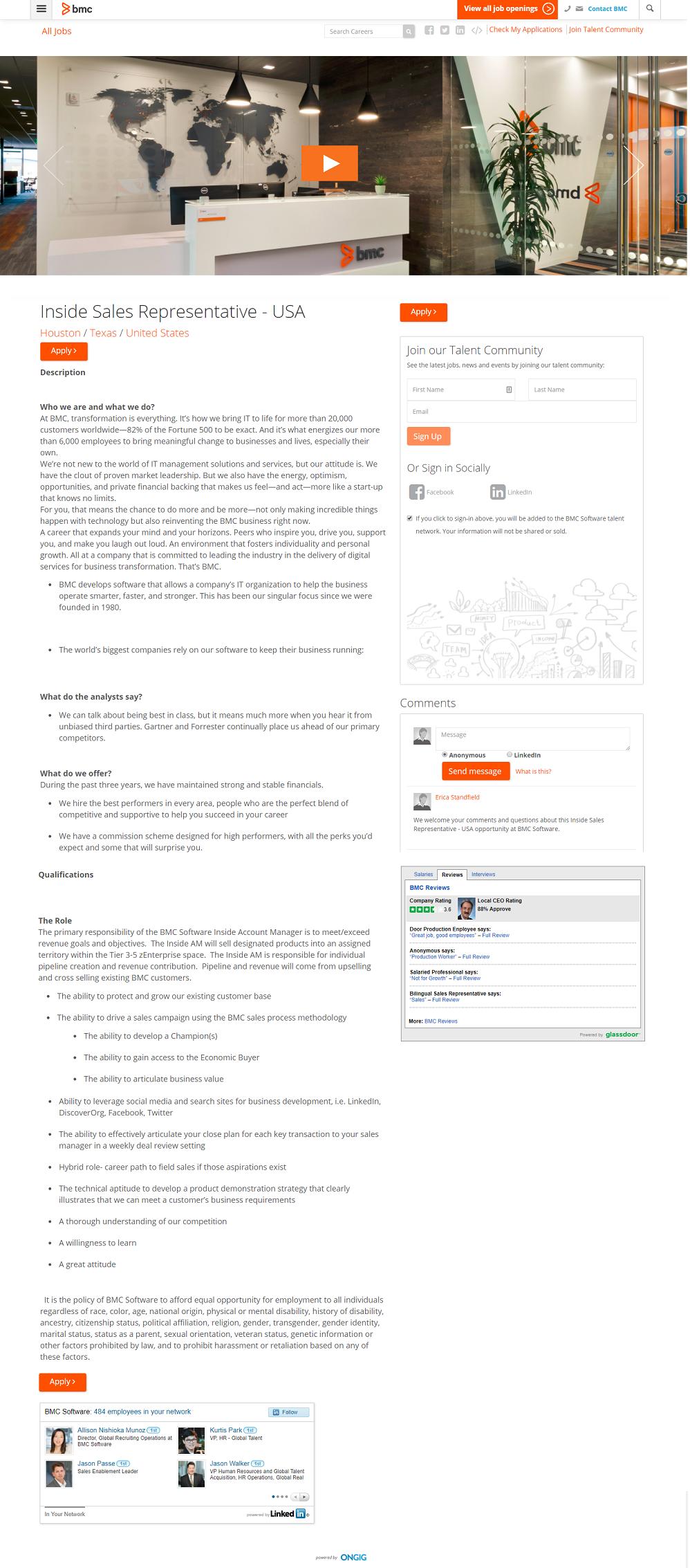 BMC Taleo ATS Job Page Powered By Ongig