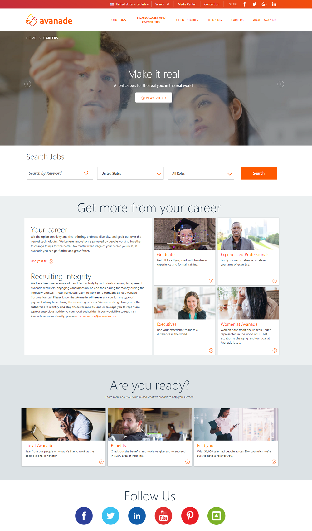 Avanade Company Career Page Example