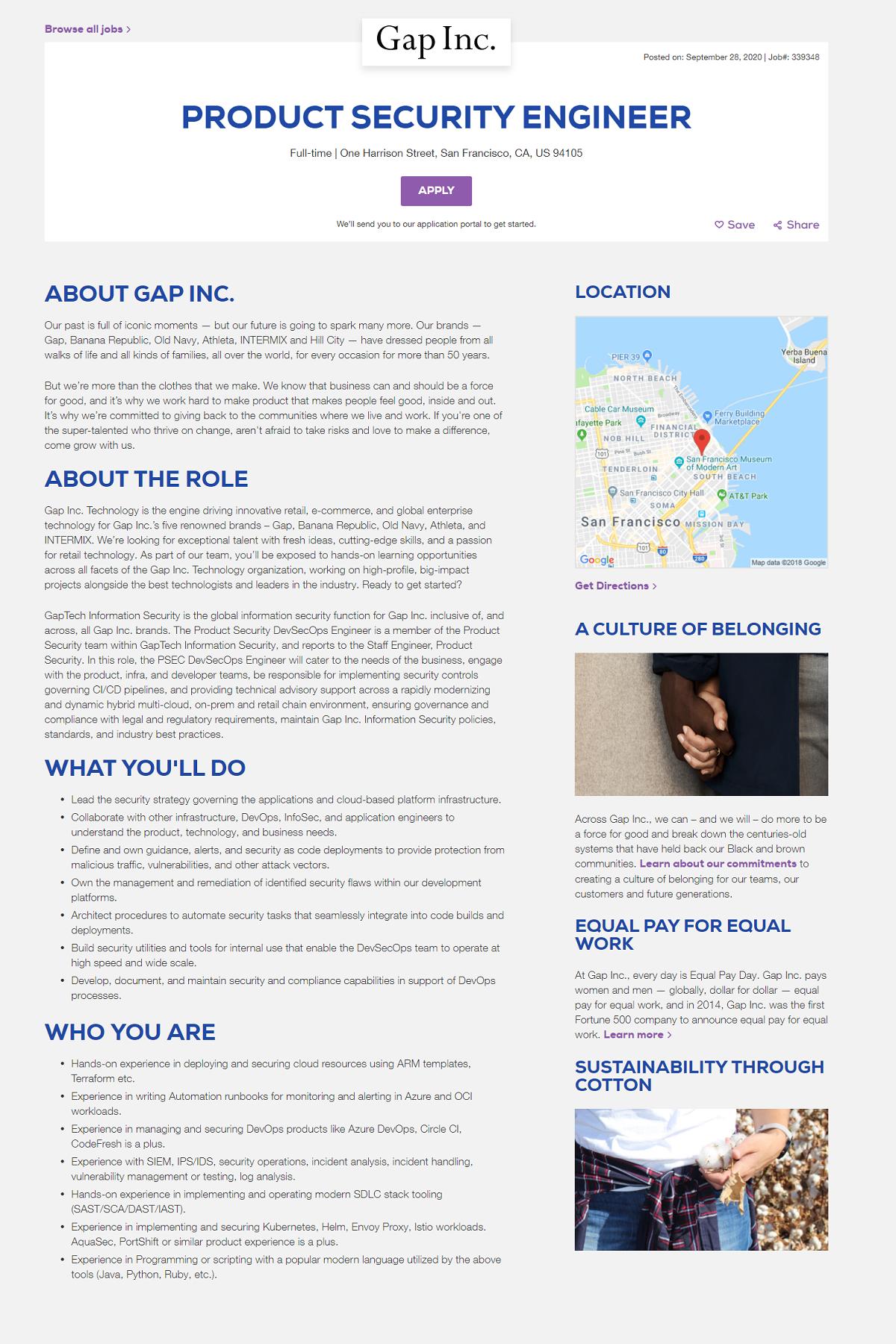 taleo ats job page overlay Gap