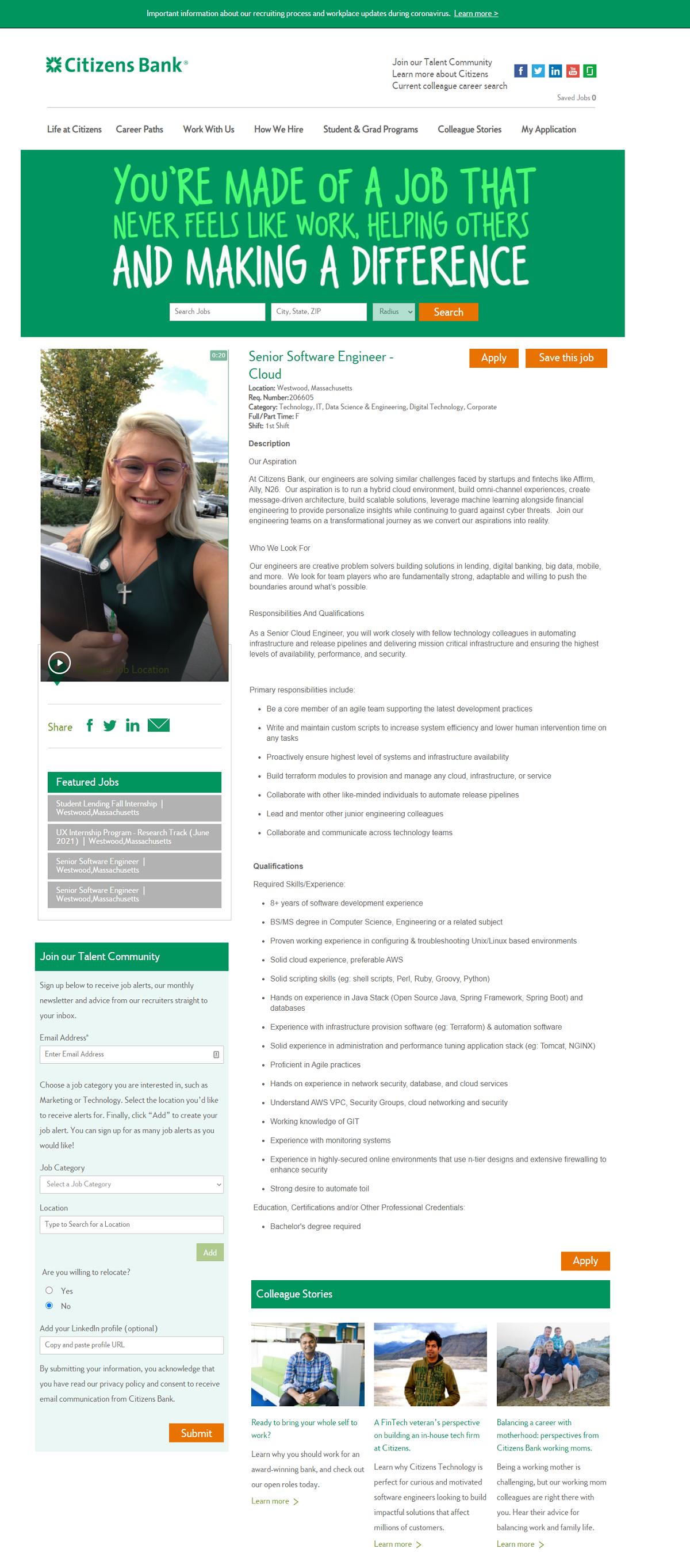 taleo ats job page overlay citizens bank