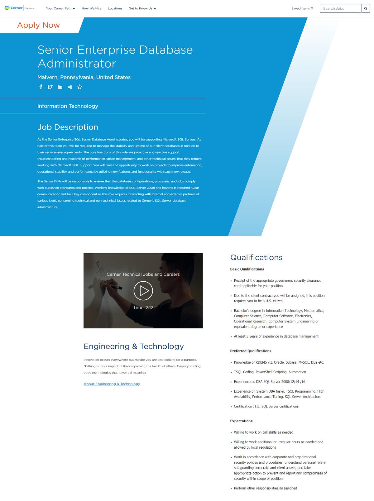 cerner job page overlay