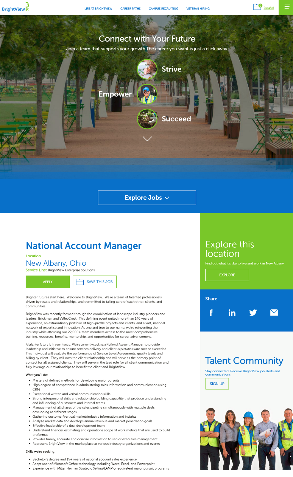 brightview icims ats job page overlay