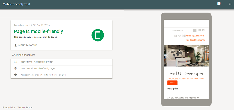 Pass google's mobile friendly test with Ongig