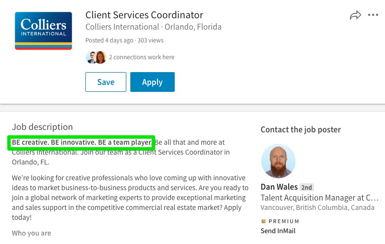 then in the last line of the job posting they reinforce the evp