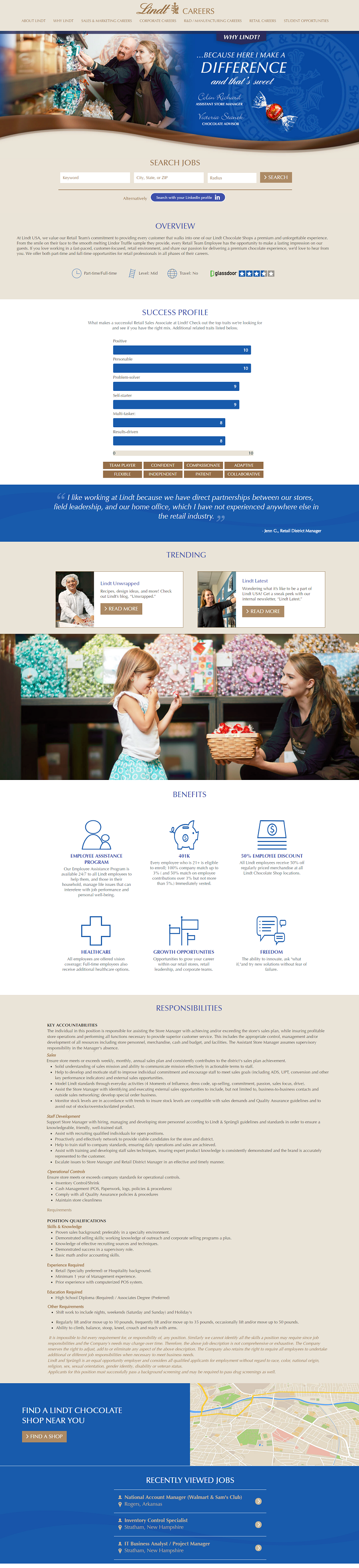 Lindt Mini Career Site Job Description
