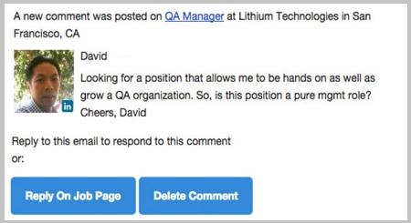 Chat and Comments on Dynamic Job Descriptions