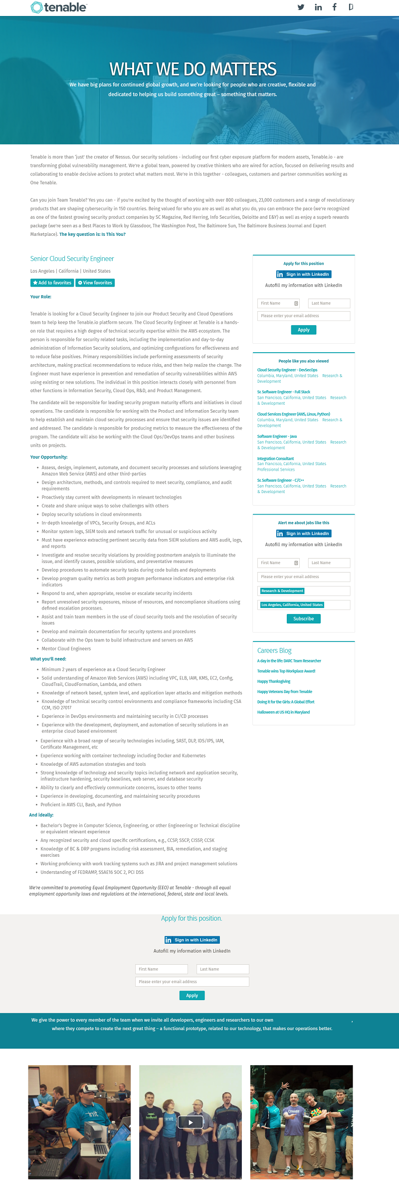 Tenable Mini Career Site Job Description