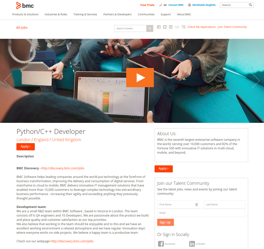Ongig powered job description page