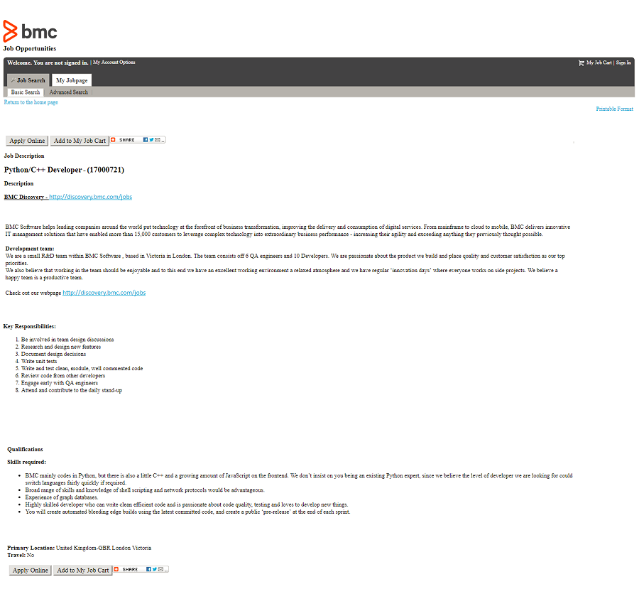Default Taleo ats job description page