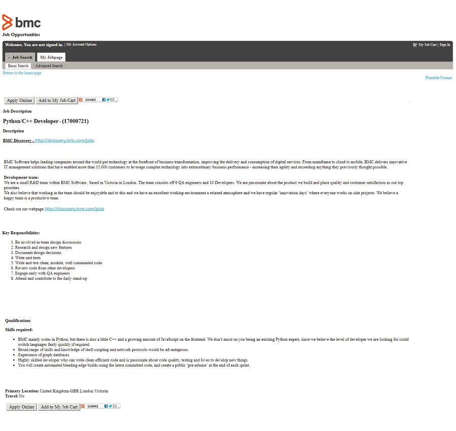 Default Taleo ats job description page