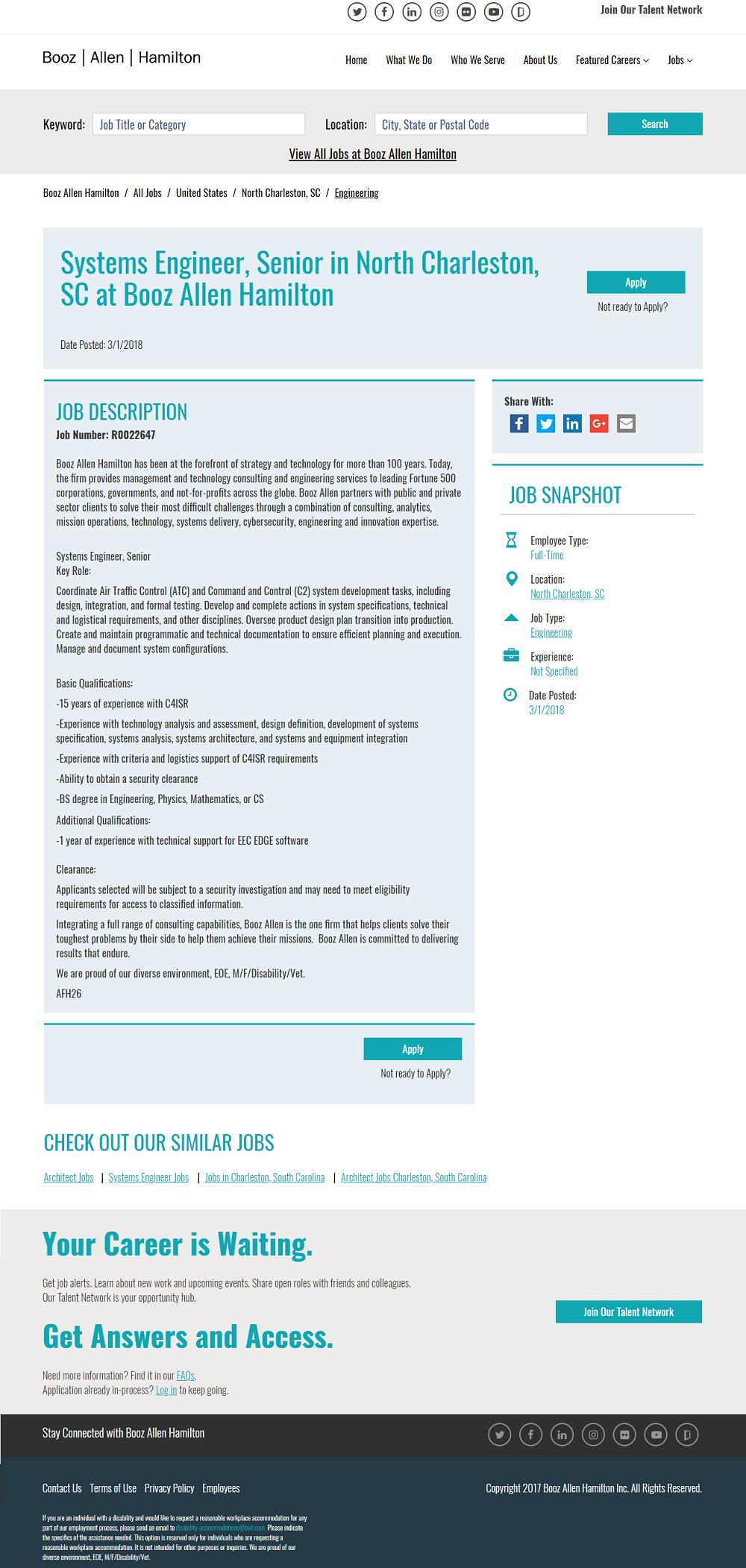 Workday ATS Job Page Overlay - Booz Allen Hamilton