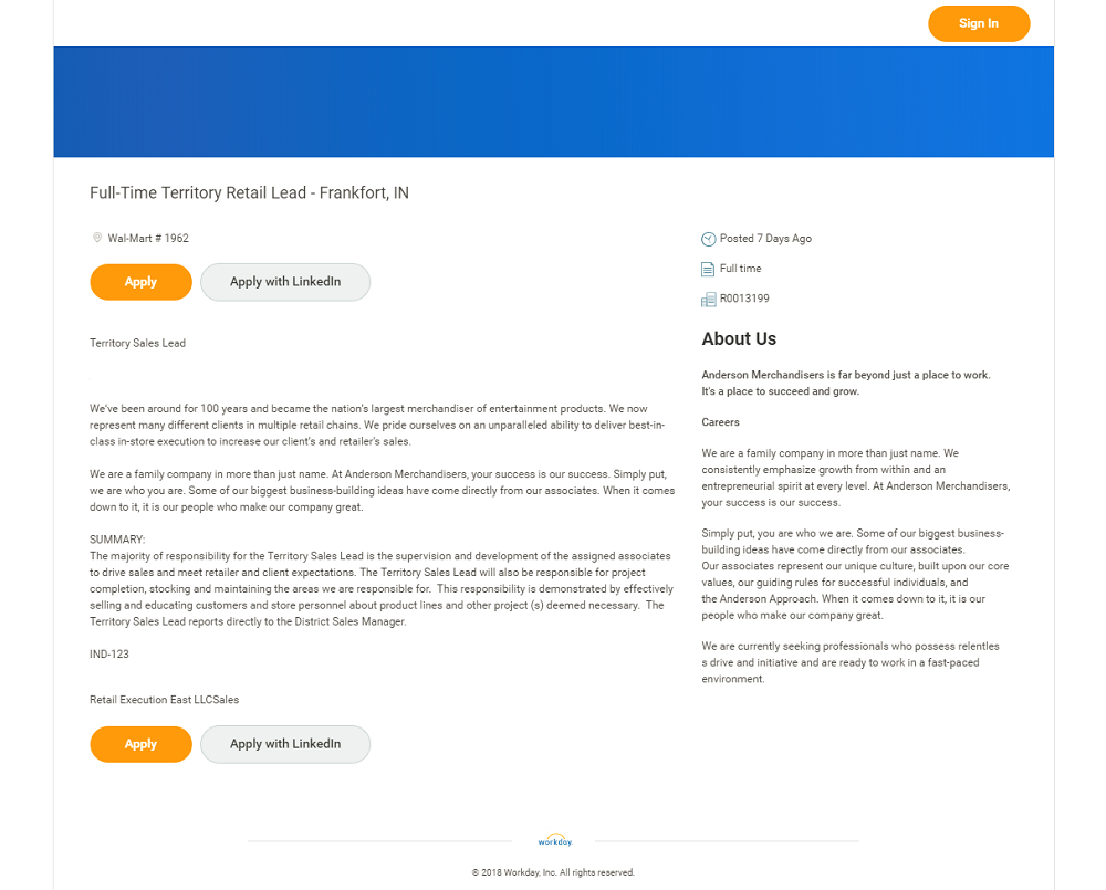 Workday ATS Job Page Default