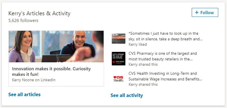 LinkedIn Profile Articles and Activites Section - Recruiting