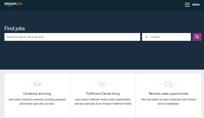 Amazon job search on career site