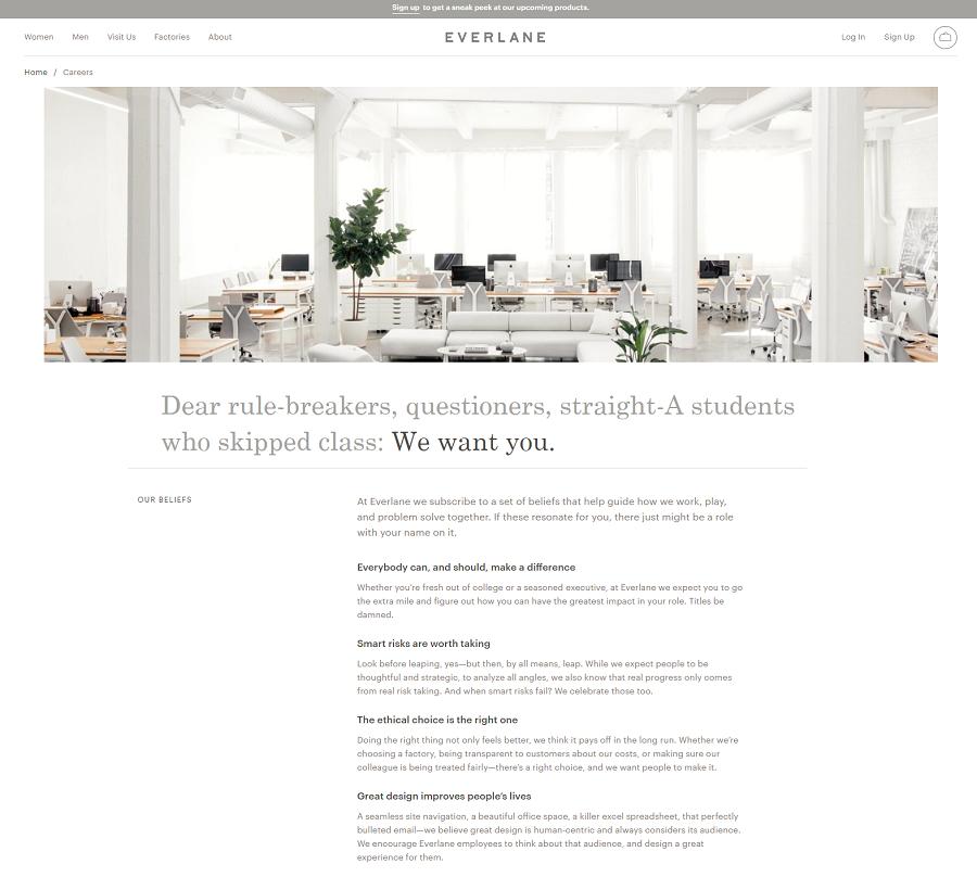 Everlane Company Career Site