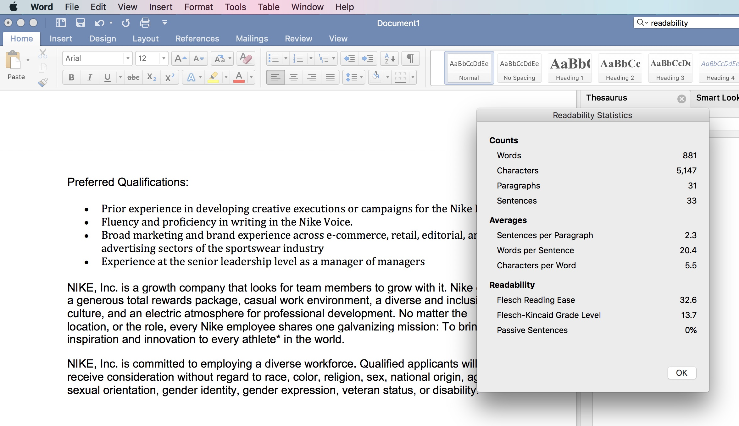 Microsoft Word offers readability stats to analyze your text