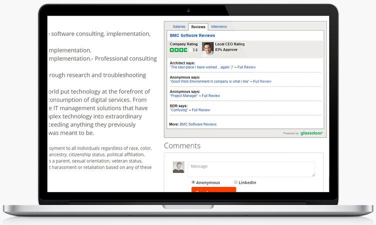 Glassdoor recruiting widget on job page