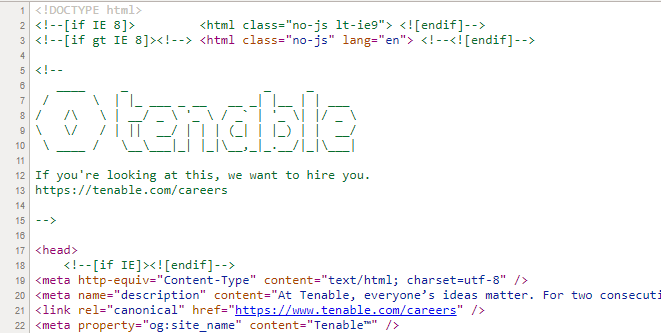 Tenable's message to candidates in HTML of company career site