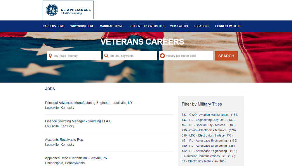 GE Appliances Veterans Microsite