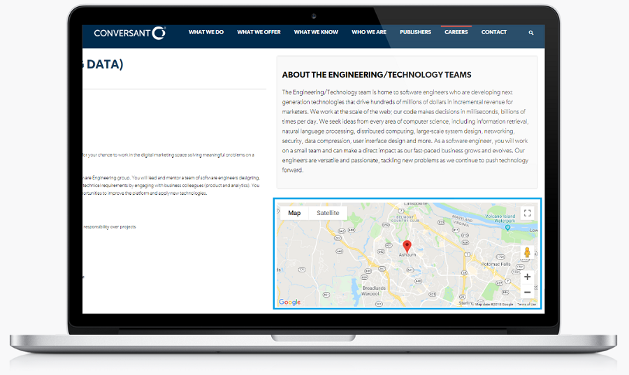 Ongig job page with maps recruiting widget