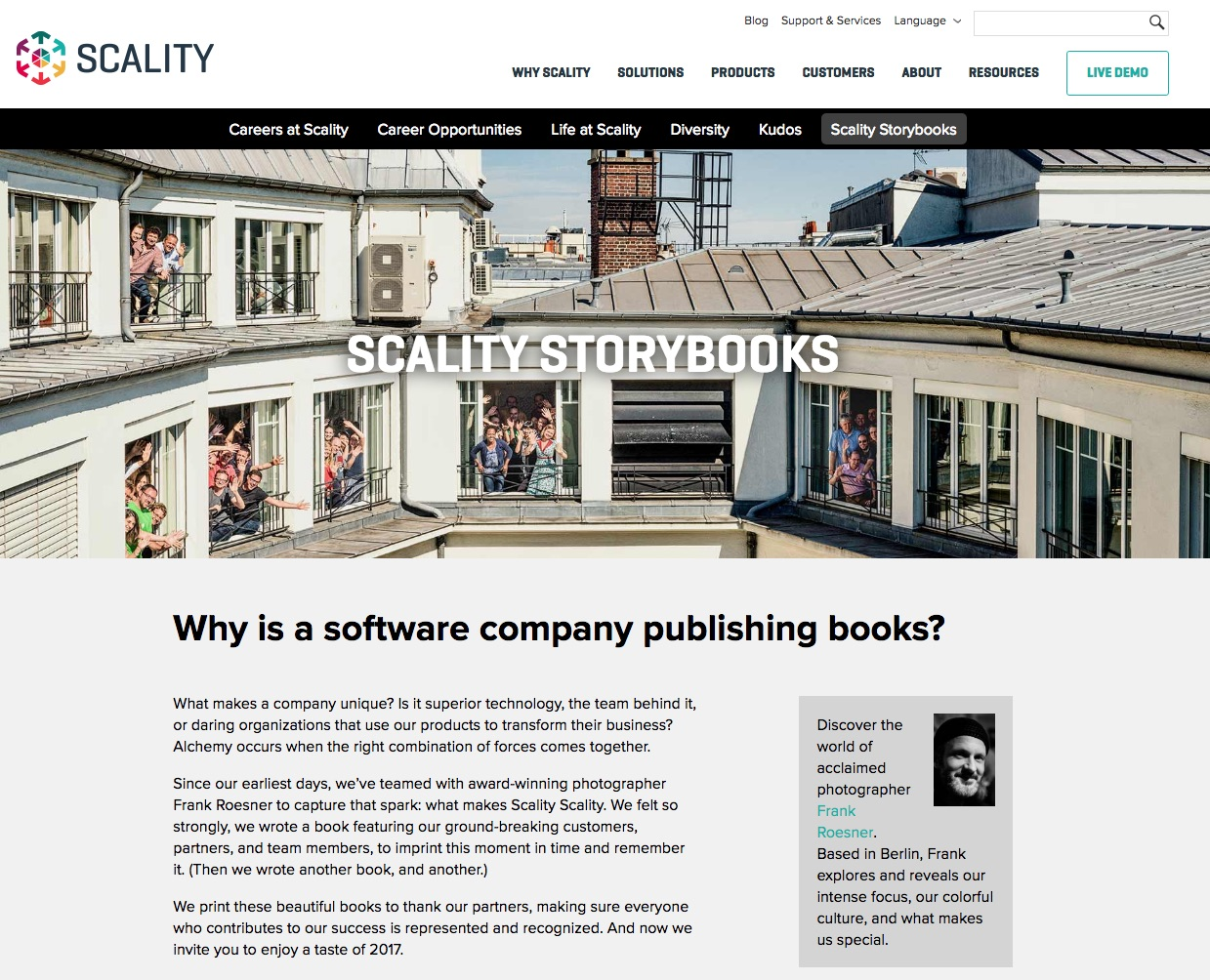 Scality career site storybooks