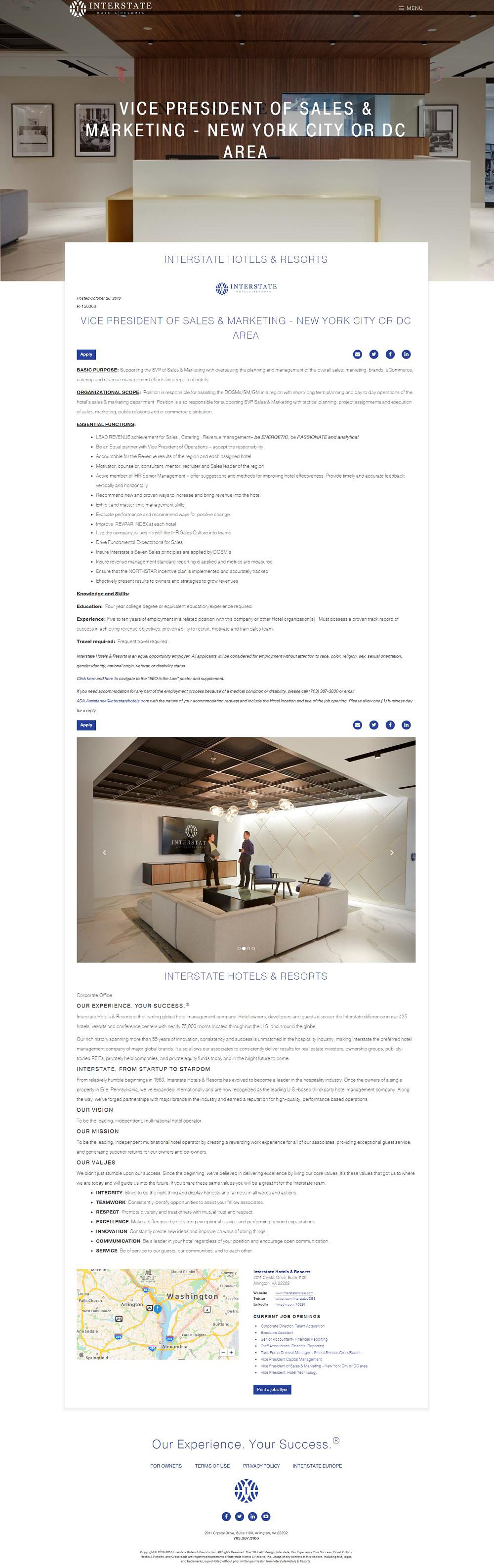 Interstate Hotels job description