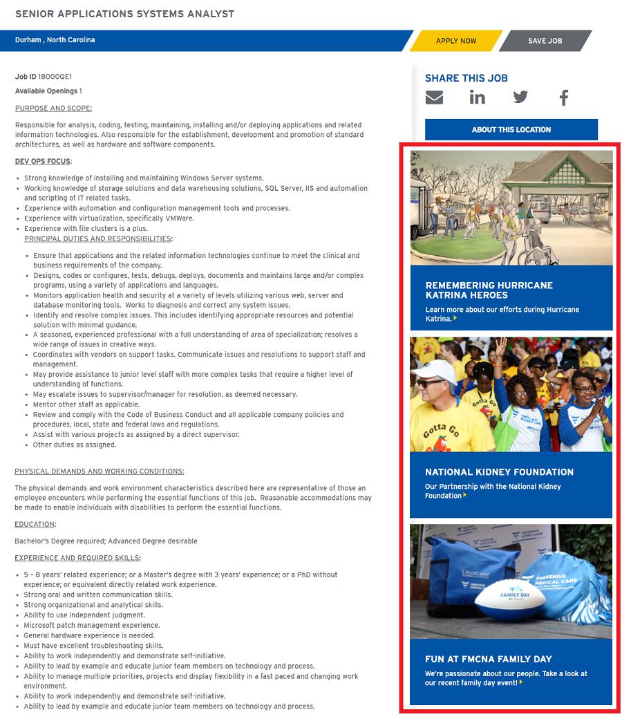 Fresenius Initiatives on Job Ads