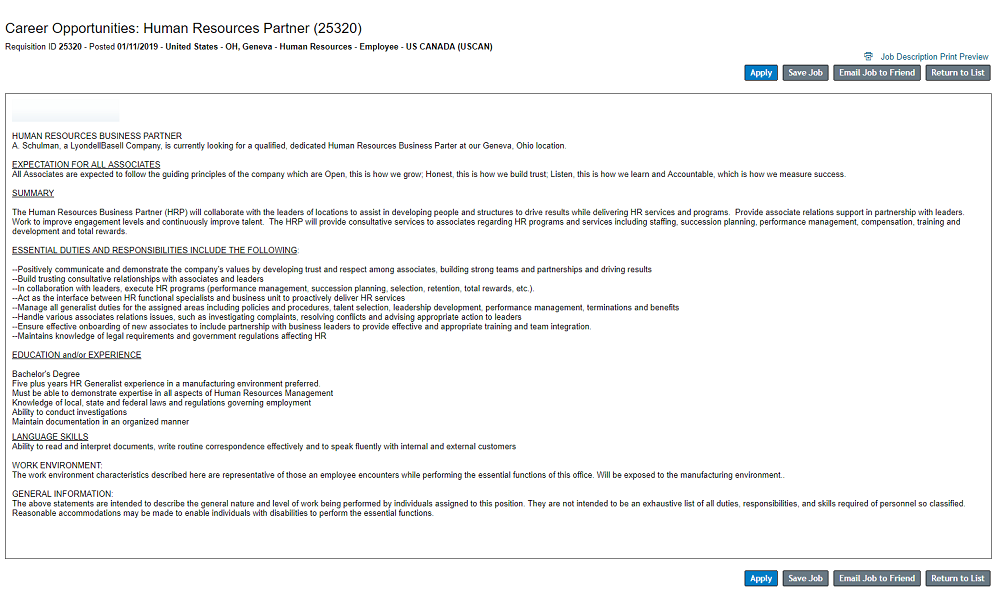 SuccessFactors ATS job page