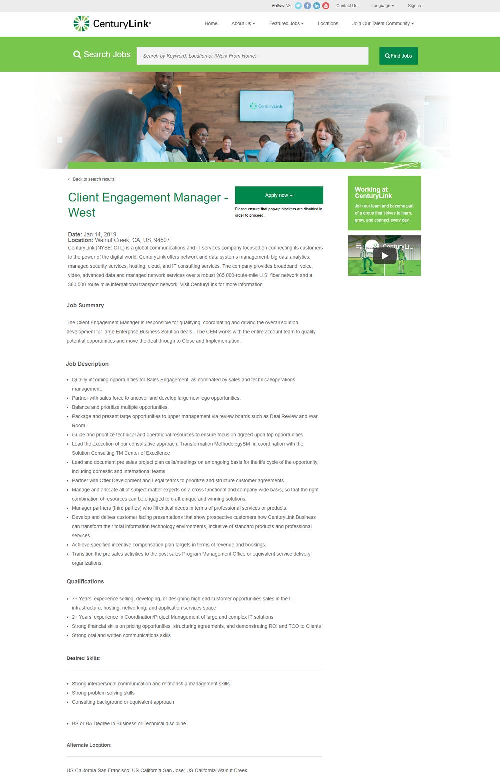 CenturyLink Job Page Overlay