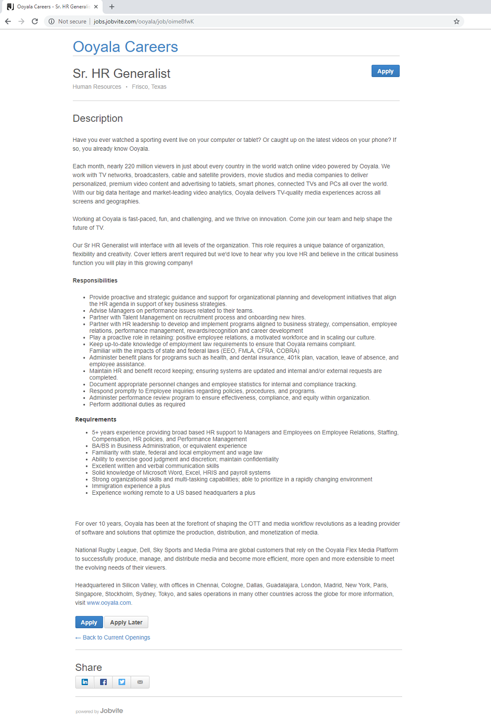 out-of-the-box Jobvite ATS job page