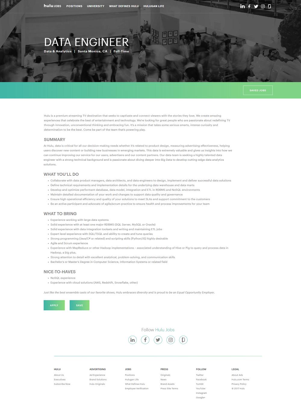 Hulu Jobvite ATS job page overlay