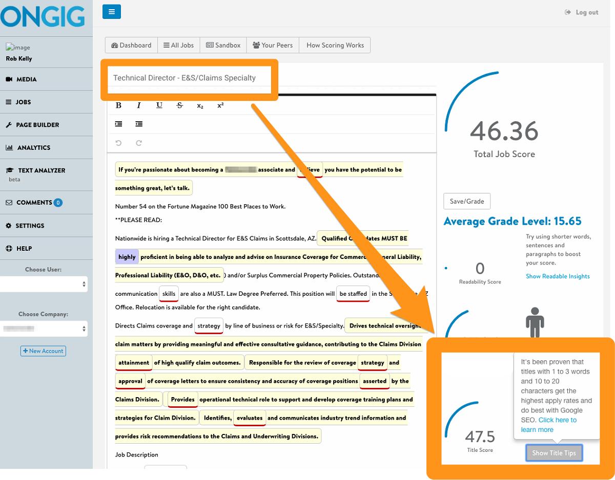 job title score text analyzer