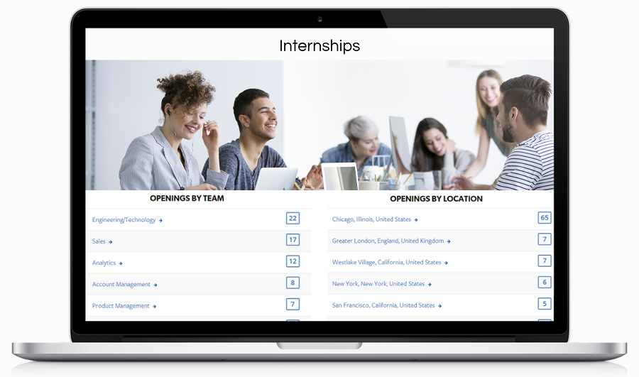Internships recruiting landing page
