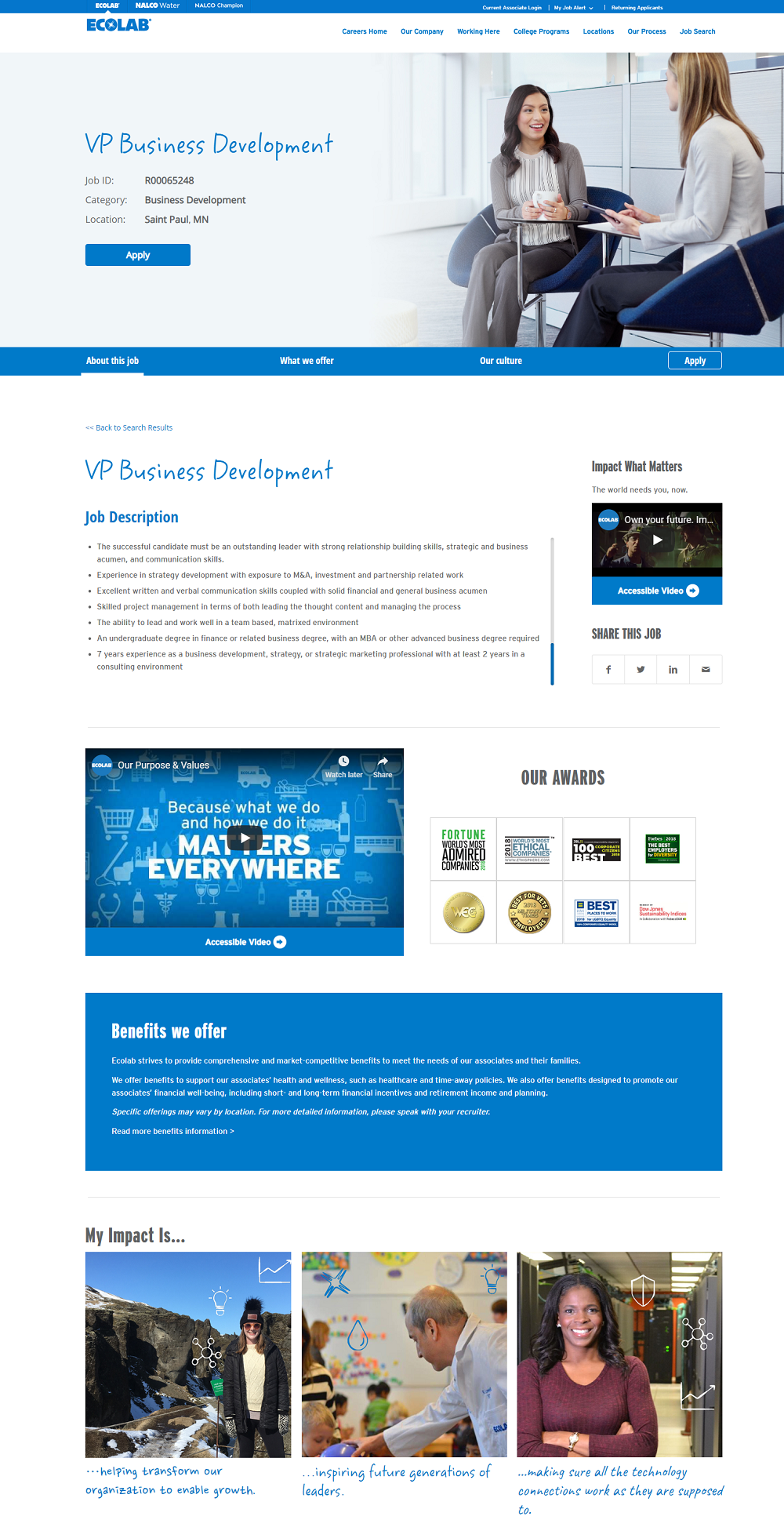 Ecolab job ad