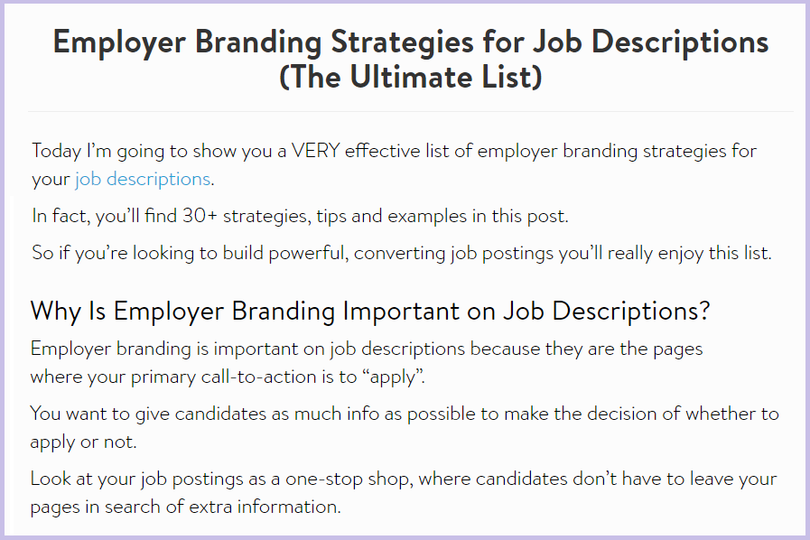 employer branding strategies for job descriptions blog post