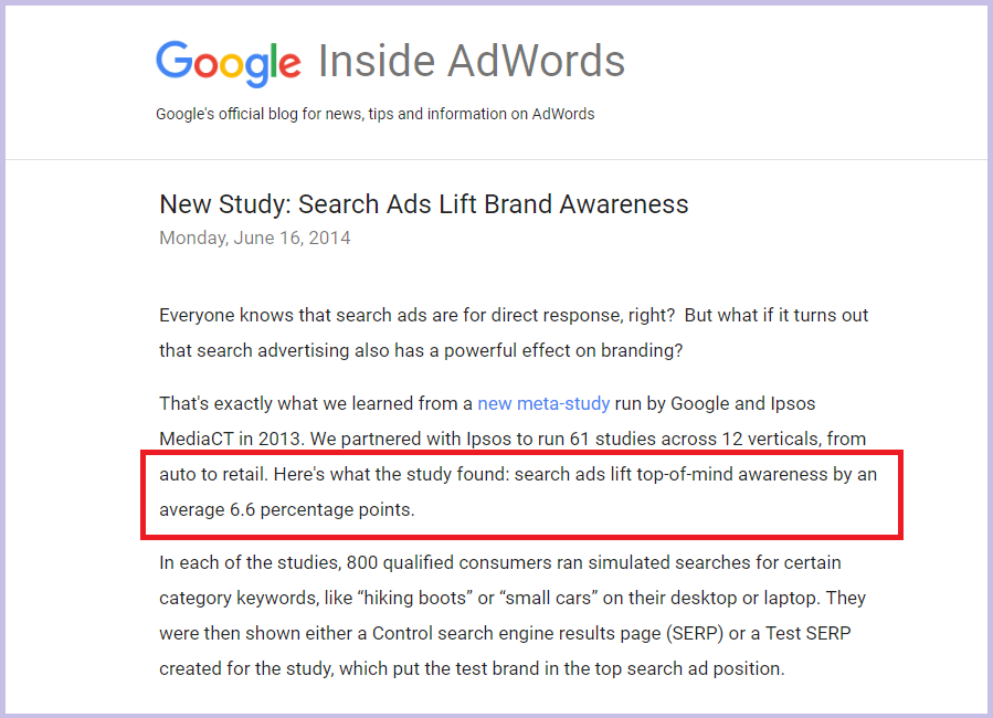 google adwords brand awareness study