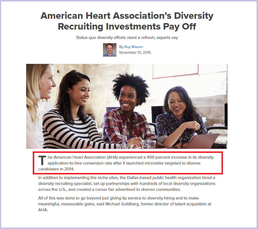 American Heart Association's Diversity Recruiting Investments Pay Off