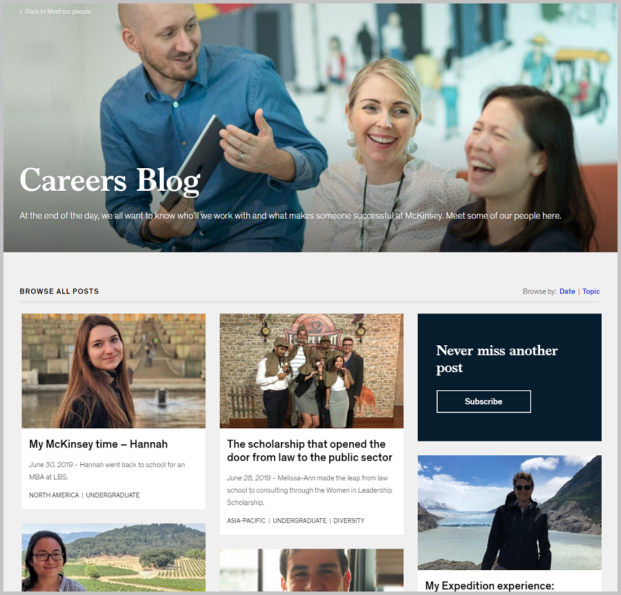 Mckinsey career blog