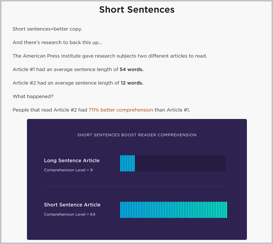 effectiveness of short sentences