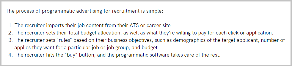 Appcast programmatic job advertising process