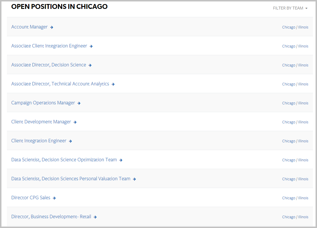 Chicago recruiting microsite job listings