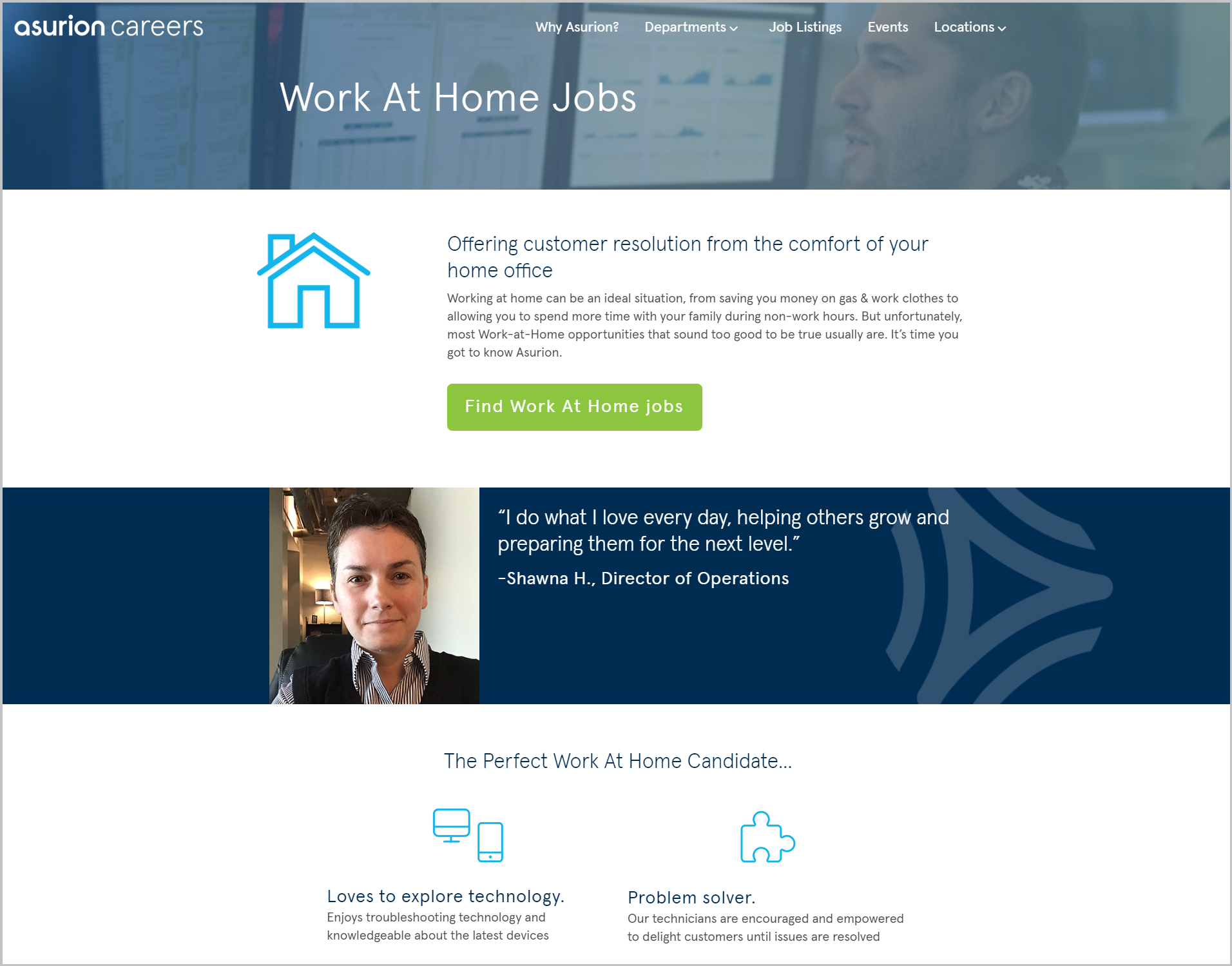 Asurion work from home recruiting microsite