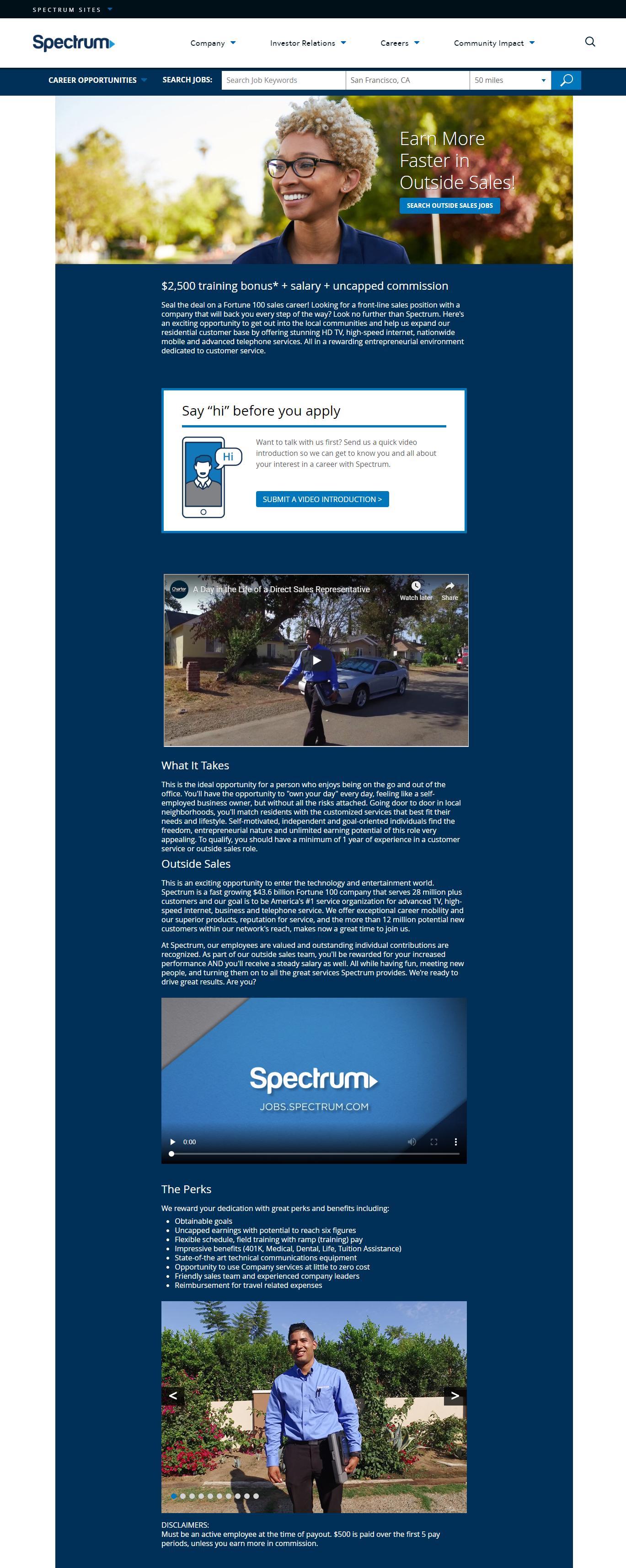 Spectrum Sales Recruiting Microsite
