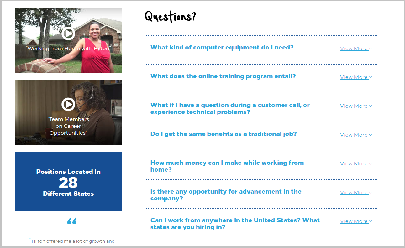 Hilton Recruiting Microsite FAQ