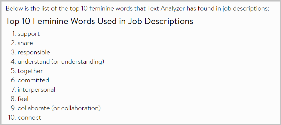 List of top 10 feminine words used in job descriptions
