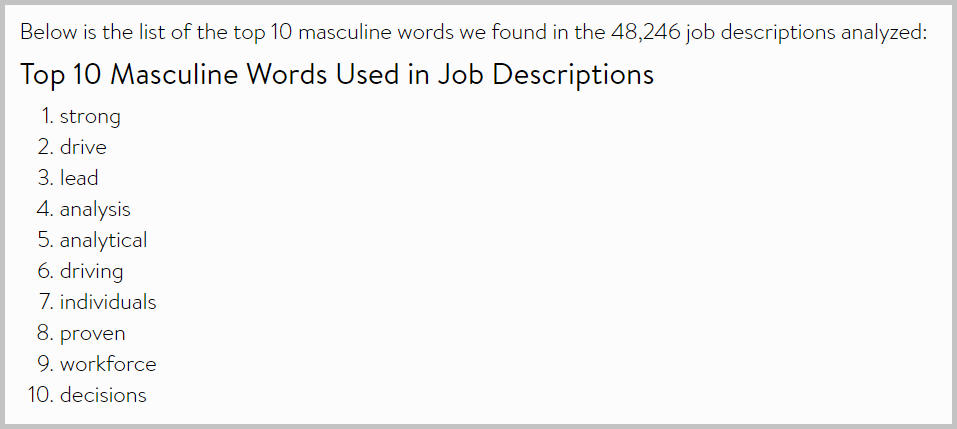 List of 10 masculine words used in job descriptions