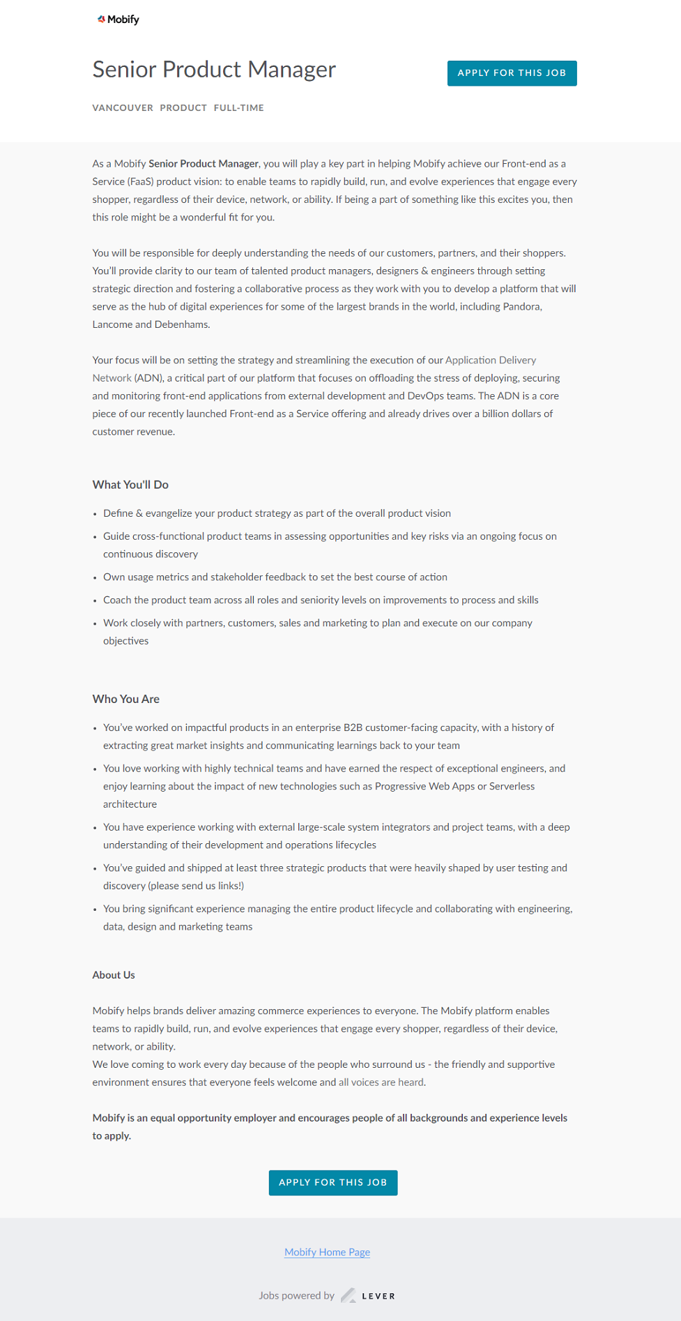 Lever ATS job page