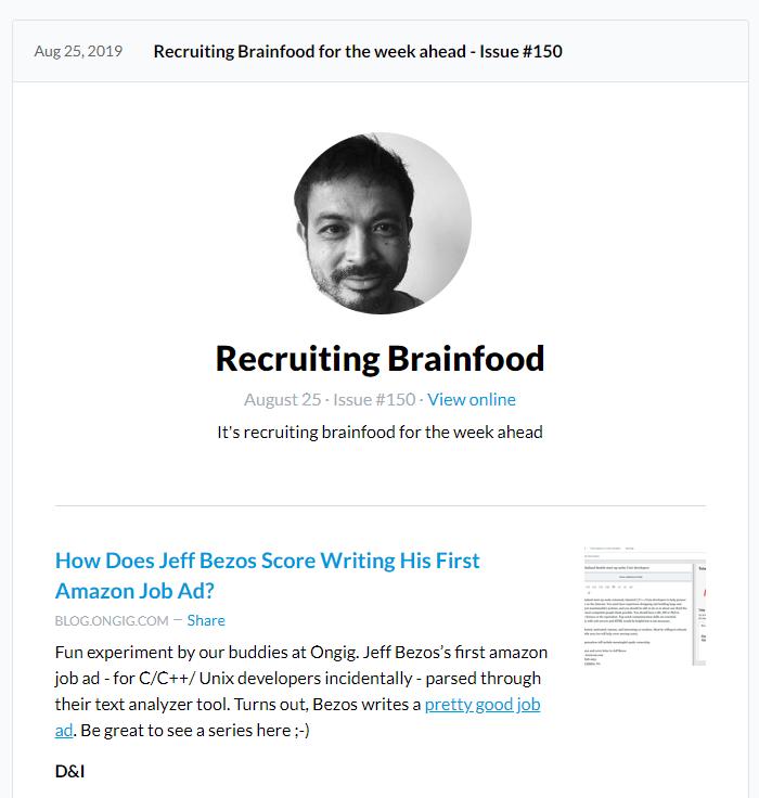 Recruiting Brainfood Newsletter Screenshot