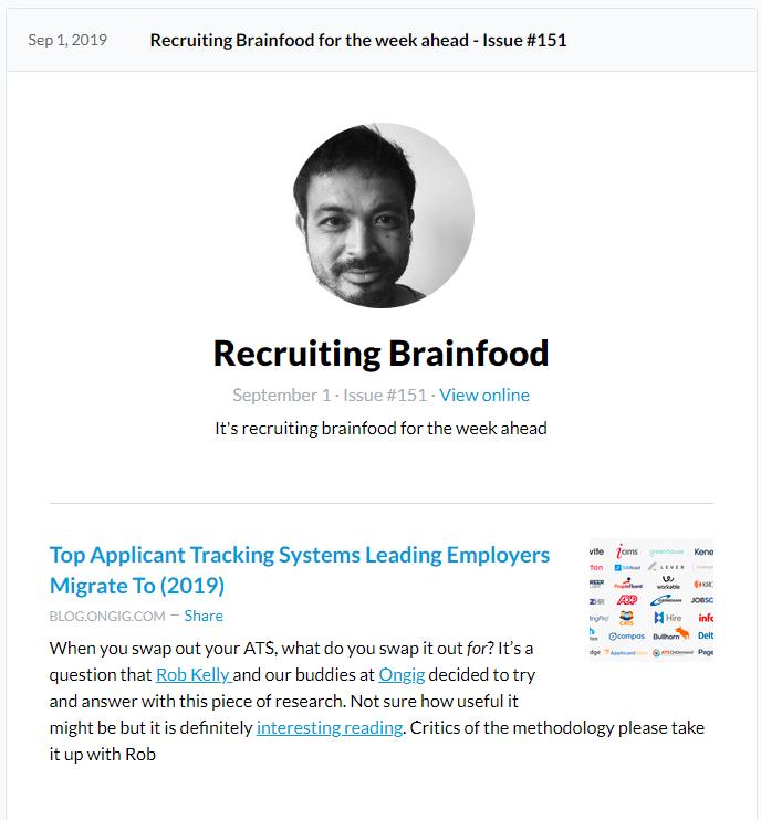 Recruiting Brainfood Newsletter Screenshot 1