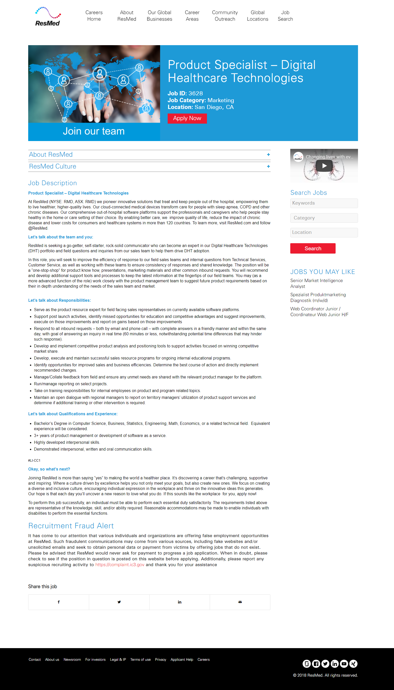 Cornerstone OnDemand job page overlay Resmed